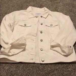 Brand new distressed white jean jacket